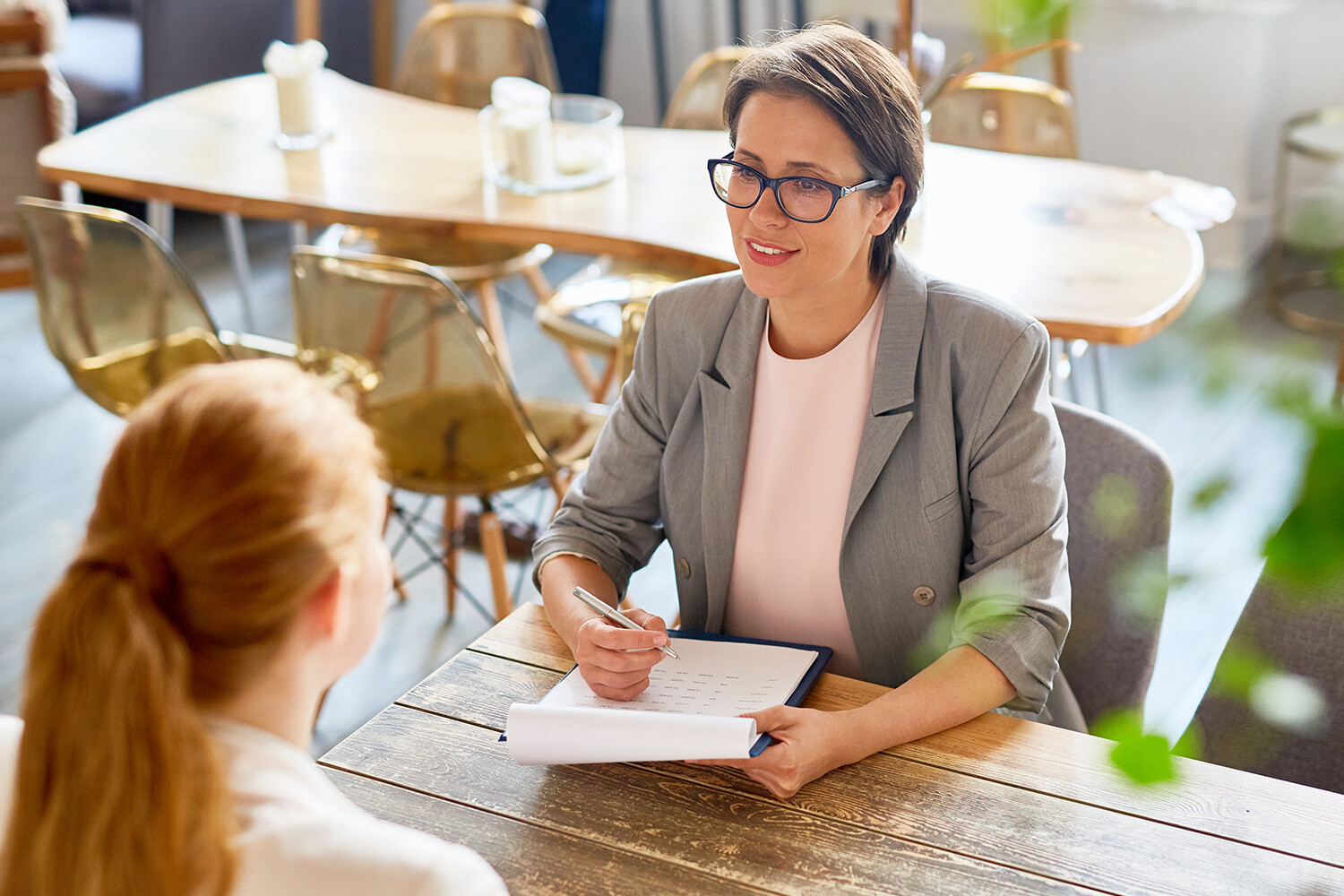 Female business owner in an interview